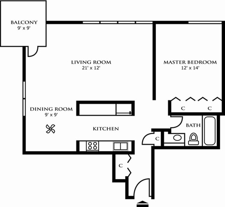 One Bedroom Design C