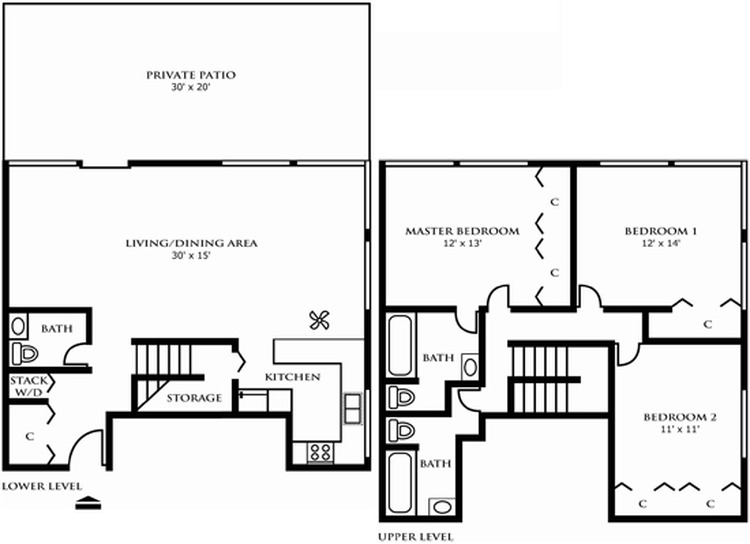 Three Bedroom Town Home Design A