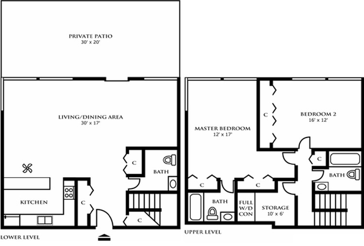 Two Bedroom Town Home Design B